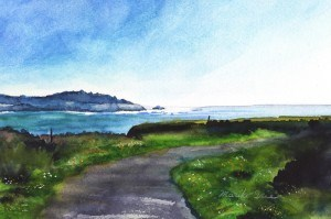 """Strolling Along The Headlands"" original fine art by Mariko Irie"