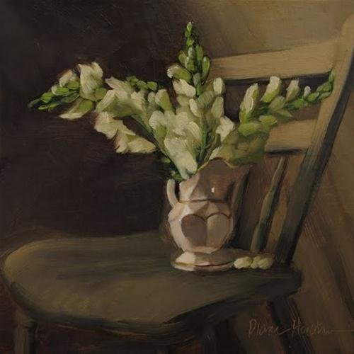 Snapdragons on Chair oil painting original fine art by Diane Hoeptner