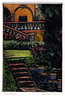 """Monotype: Villa Steps"" original fine art by Belinda Del Pesco"