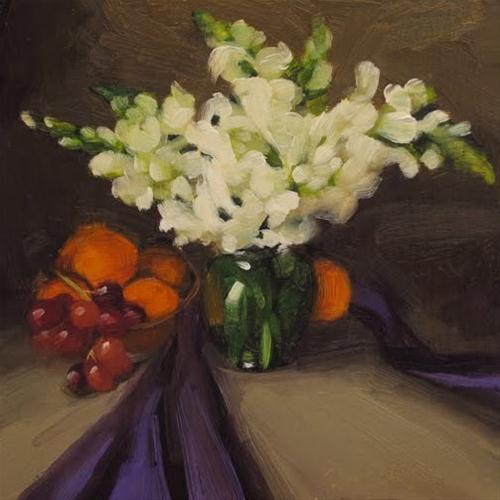 Snapdragon Study still life painting original fine art by Diane Hoeptner