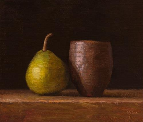 """Pear with Japanese Vase  (+ more about Sedona)"" original fine art by Abbey Ryan"