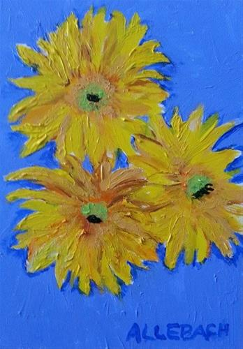 """Three yellow flowers"" original fine art by Jo Allebach"