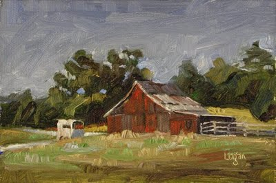 """Barn in Corbett Canyon"" original fine art by Raymond Logan"