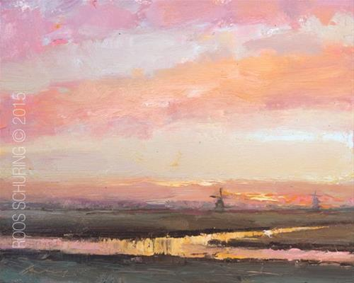 """Pink Sunrise and Windmills"" original fine art by Roos Schuring"