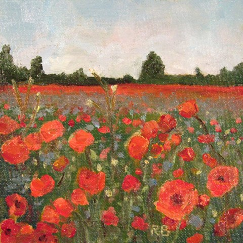 """Field of Red Heads"" original fine art by Robie Benve"