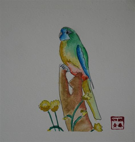 """Pastel Loreeckeet"" original fine art by Gin Sen"
