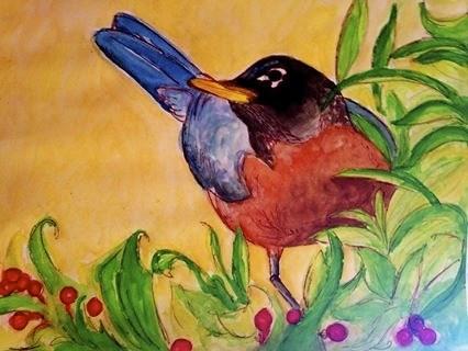 """Just Robin"" original fine art by Barbara Beckmann"