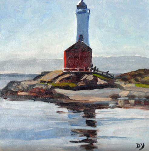 """Fisgard Lighthouse, 6x6, oil"" original fine art by Darlene Young"