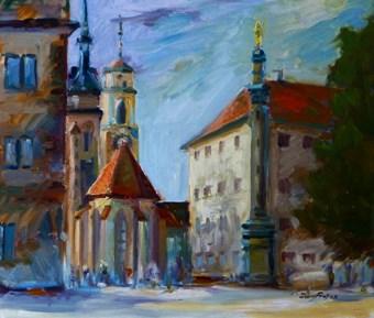 """""""Stiftskirche, Stuttgart"""" original fine art by Jurij Frey"""
