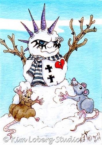 """Rats Building A Goth Snowman"" original fine art by Kim Loberg"