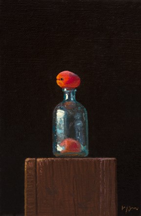 """Still life: Glass Bottle & Two Apricots (magic is still possible)  (((+ a quick survey)))"" original fine art by Abbey Ryan"