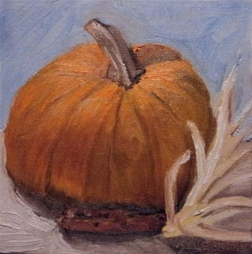"""pumpkin and indian corn"" original fine art by Jo Allebach"