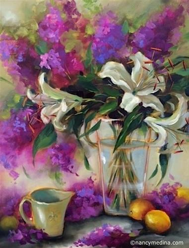 """Berries and Creme Lily Trio and a Kansas City Workshop - Flower Paintings by Nancy Medina"" original fine art by Nancy Medina"