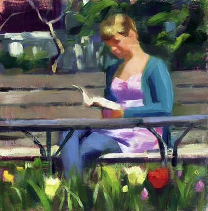"""Reading on a spring day in the garden"" original fine art by Kathy Weber"