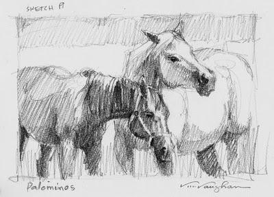 """Palominos_horses, sketch, pencil"" original fine art by V.... Vaughan"