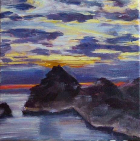 """""""Abenddämmerung auf der Insel MAllorca"""" original fine art by Sabine Hüning"""
