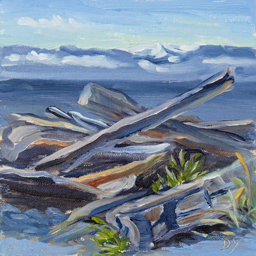 """Holland Point Snag, oil on board, 6inx6in"" original fine art by Darlene Young"