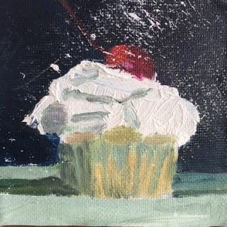 """Cupcake with Cherry"" original fine art by Libby Gilpatric"