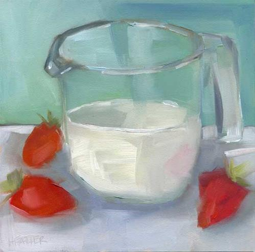 """Strawberries and Cream"" original fine art by Heather Bennett"
