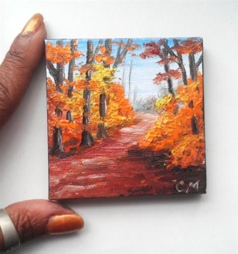 """Fall Trees along a Pathway"" original fine art by Camille Morgan"
