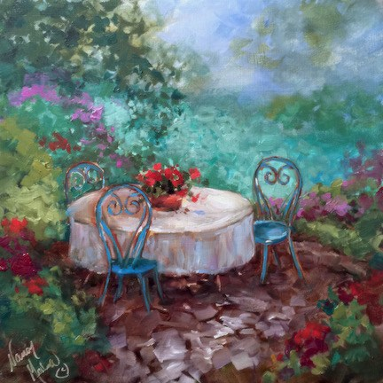 """Le Jardin Cafe"" original fine art by Nancy Medina"