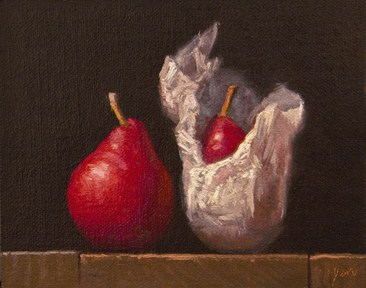 """Red Pear & Wrapped Red Pear (Yin & Yang) - 24 Hour Auction"" original fine art by Abbey Ryan"