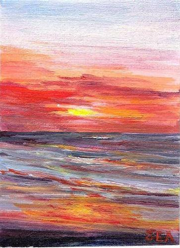 """3055 - Framed - SOUTHERN SUNRISE - FRAMED ACEO Series"" original fine art by Sea Dean"