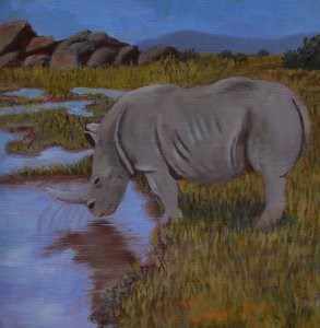 """Rhino"" original fine art by Robert Frankis"