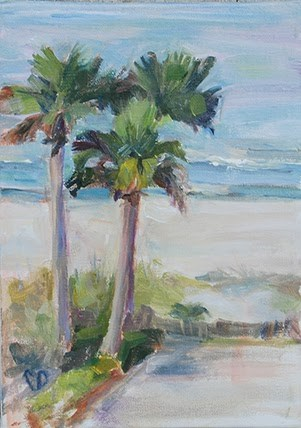 """Plein Air Study- Palm Trees"" original fine art by Carol DeMumbrum"