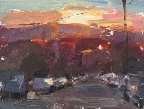 """Sunset California 18"" original fine art by Roos Schuring"