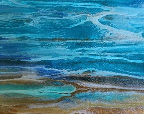 """Abstract Seascape,Coastal Living Decor,Beach Art Beautiful Storm -Study 3 by Colorado Contemporary"" original fine art by Kimberly Conrad"
