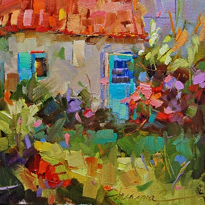 """Just a Simple French Cottage SOLD"" original fine art by Dreama Tolle Perry"