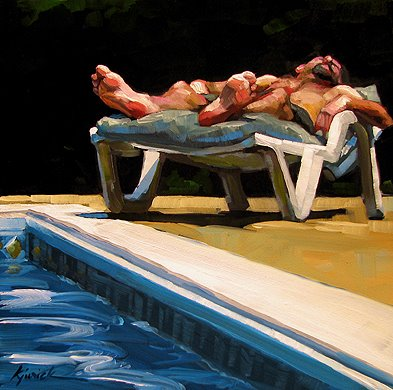 """Pool Man"" original fine art by Karin Jurick"