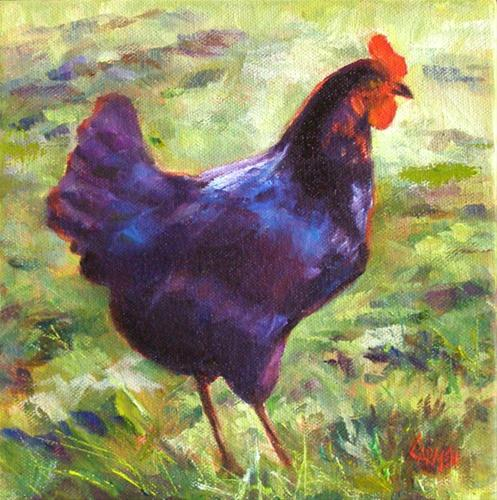 """Fowl Play, 8x8 Oil on Canvas"" original fine art by Carmen Beecher"