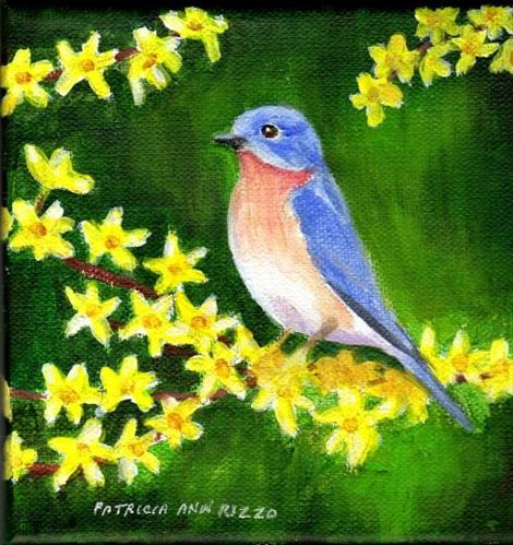 """Bluebird on Forsythia"" original fine art by Patricia Ann Rizzo"