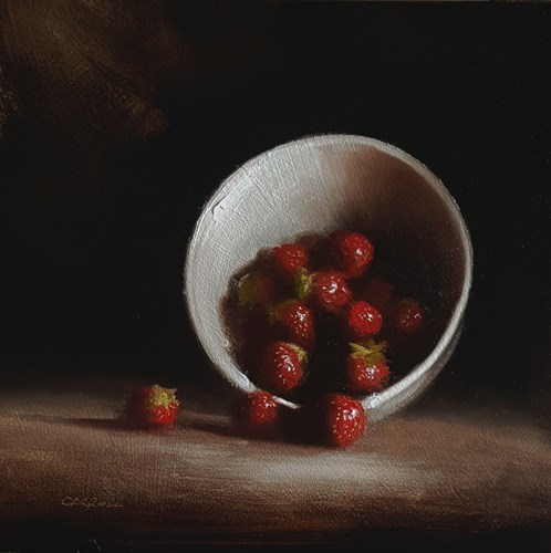 """Bowl of Strawberrries"" original fine art by Neil Carroll"