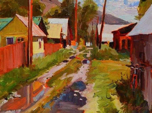 """Alley After the Rain, Crested Butte , plein air painting by Robin Weiss"" original fine art by Robin Weiss"