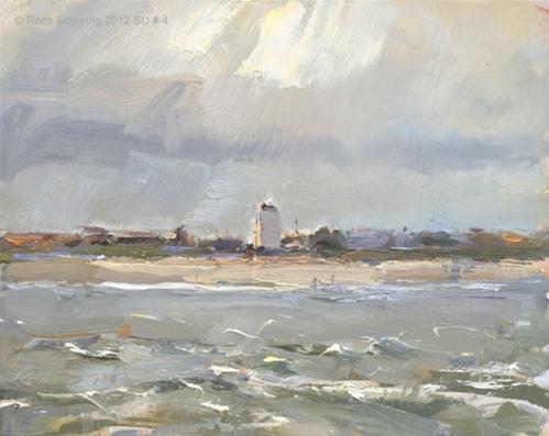 """Seascape summer # 4 Coastal line Katwijk Birds and Vuurbaak, Lighthouse"" original fine art by Roos Schuring"