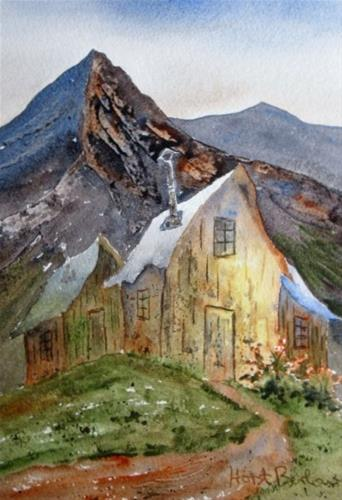 """Mountain Hut"" original fine art by Horst Berlow"
