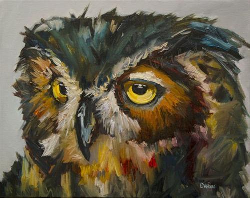 """""""OWL EYE ANIMAL WILDLIFE Diane Whitehead Daily Painting"""" original fine art by Diane Whitehead"""