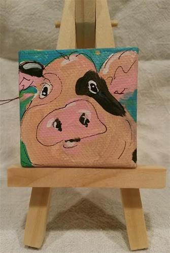 """""""Itty Bitty Pig"""" original fine art by Terri Einer"""