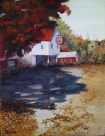 """The Atomic Gas Station"" original fine art by Nan Johnson"