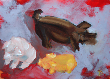"""ACEO ATC Three Little Piggies"" original fine art by Dalan Wells"
