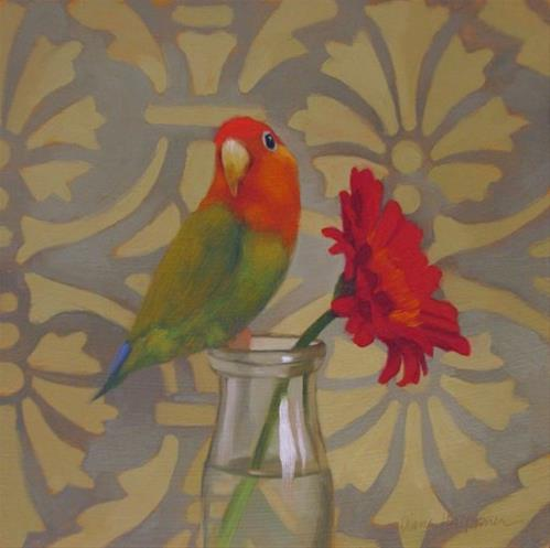 """Parrot and Daisy"" original fine art by Diane Hoeptner"