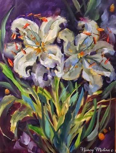 """Lavender Lilies by Floral Artist Nancy Medina"" original fine art by Nancy Medina"