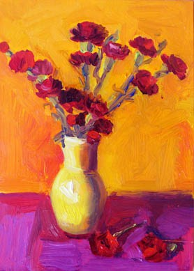 """Carnations, Orange/Purple"" original fine art by Carol Steinberg"