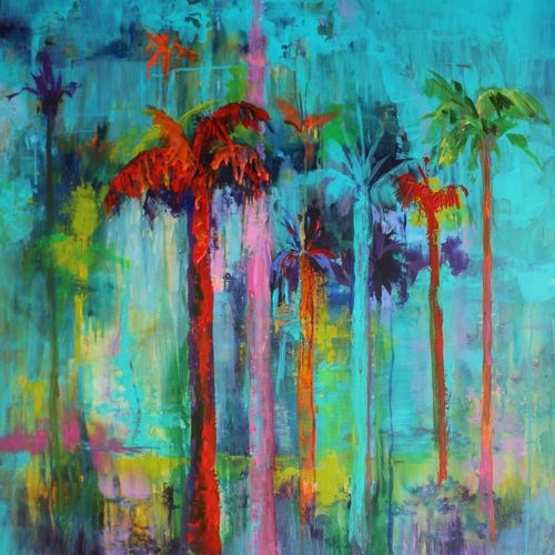 """Miami Heat, Landscape of Palm Trees by Arizona Artist Amy Whitehouse"" original fine art by Amy Whitehouse"