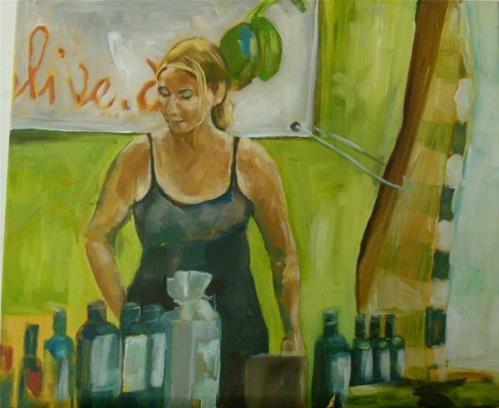 """""""Mädchen am Marktstand"""" original fine art by Sabine Hüning"""