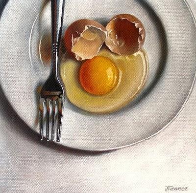 """White Porcelain & Brown Egg"" original fine art by Jelaine Faunce"