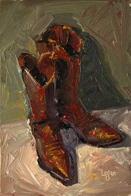 """Cowboy Boots"" original fine art by Raymond Logan"
